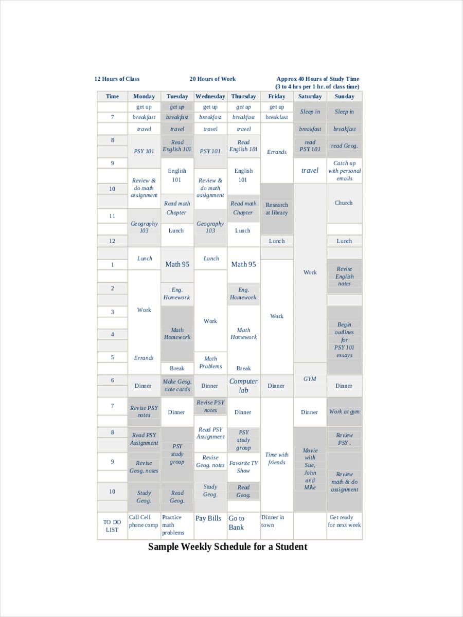 student weekly schedule1