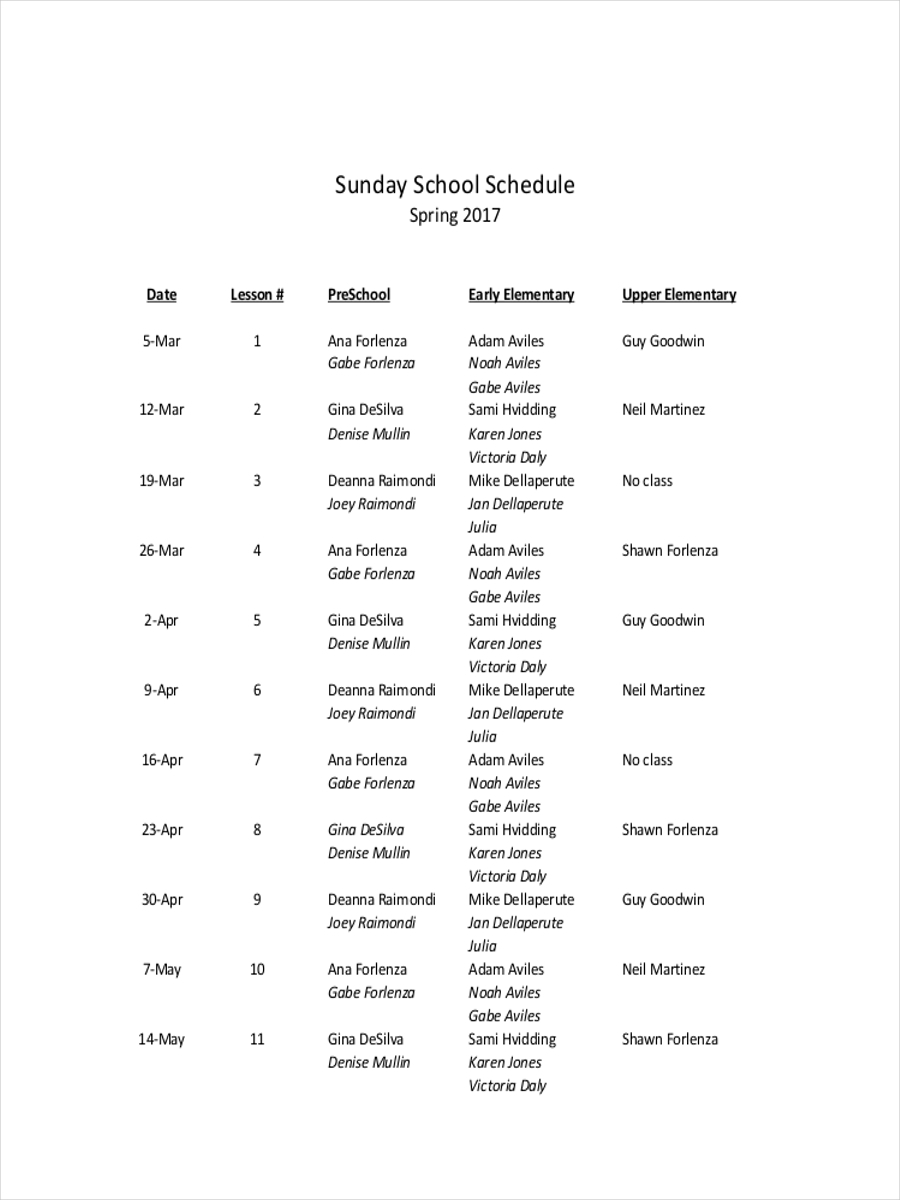 sunday school schedule sample