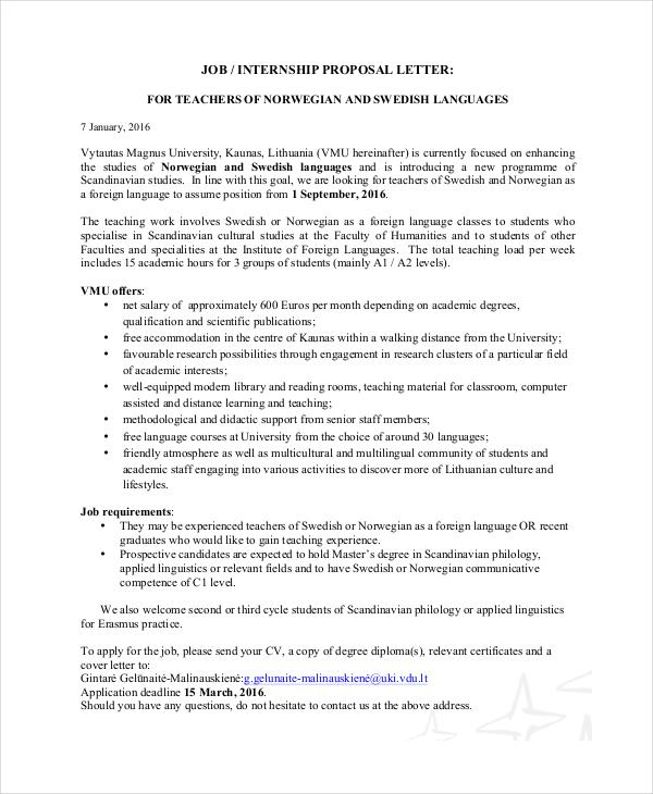 teaching job proposal