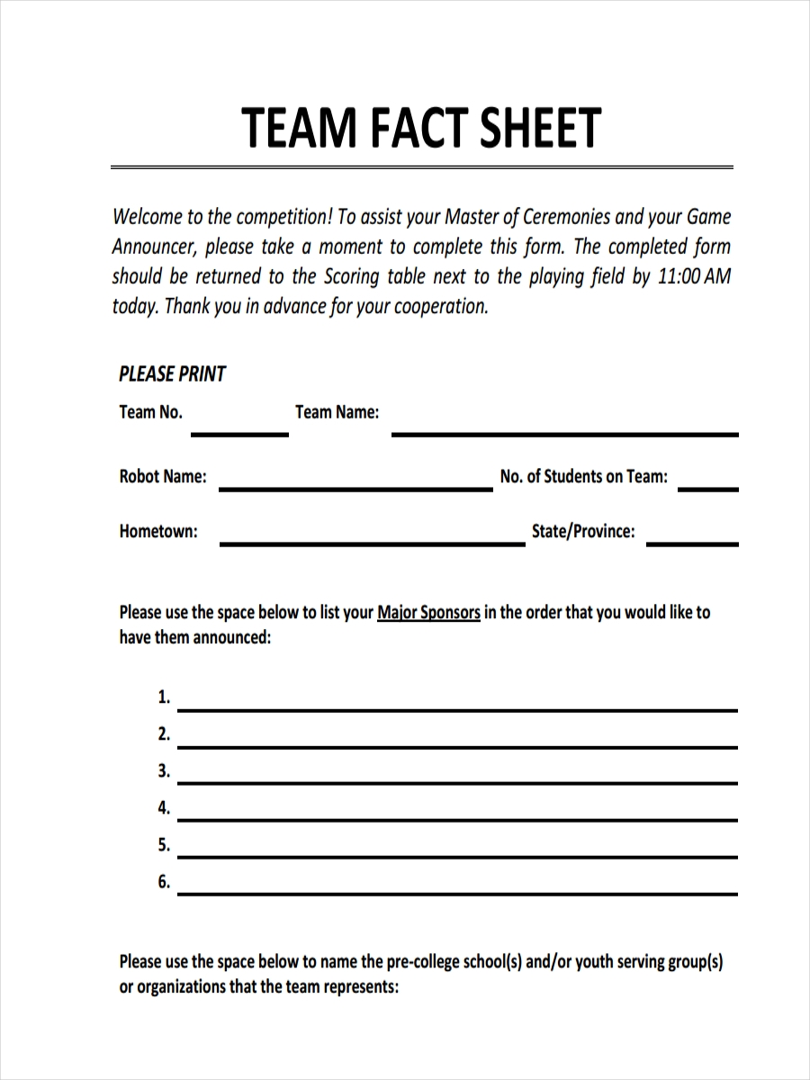 team fact sheet