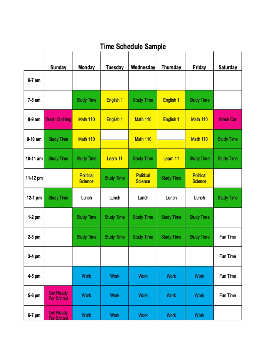 time management schedule for student