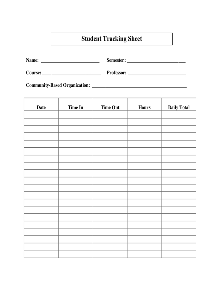 tracking sheet of student