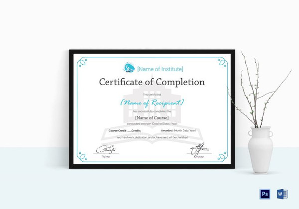 26 completion certificate examples psd pdf word training completion certificate template yadclub Gallery