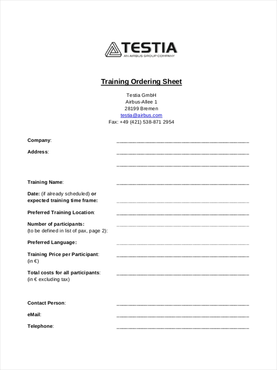 training ordering sample sheet