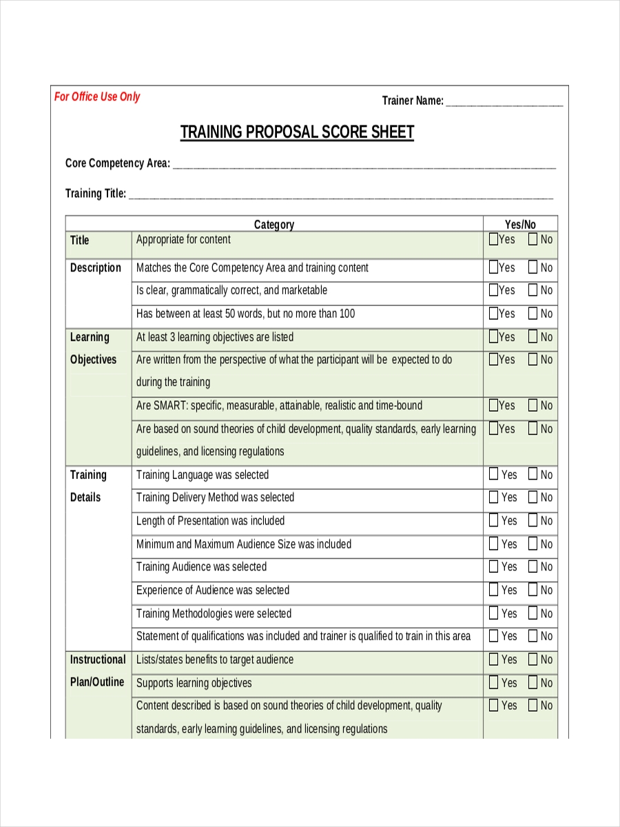 training proposal score sheet