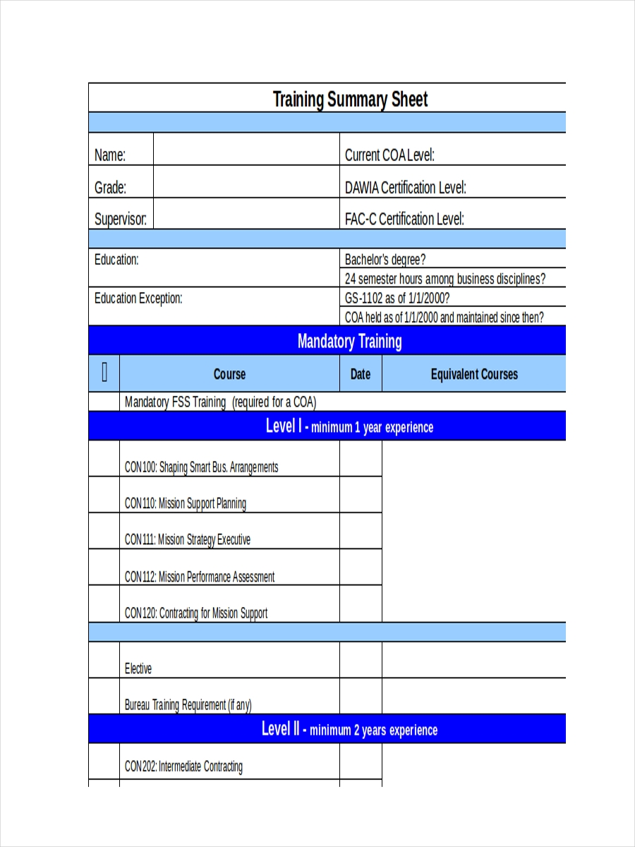 training summary sample sheet
