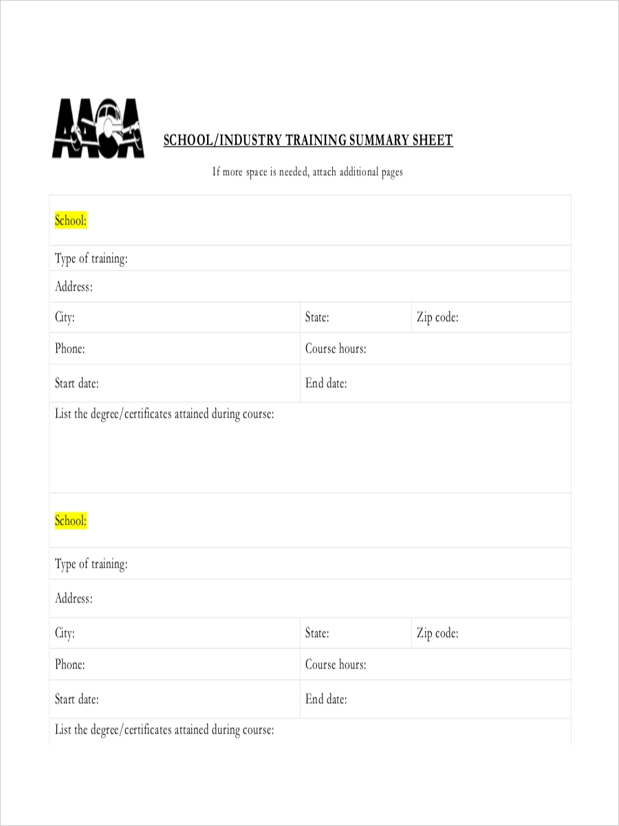 training summary sheet