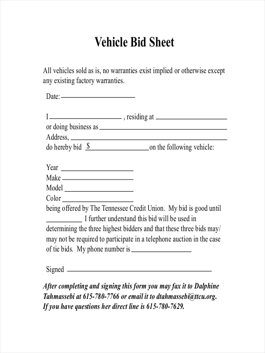 vehicle bid sheet