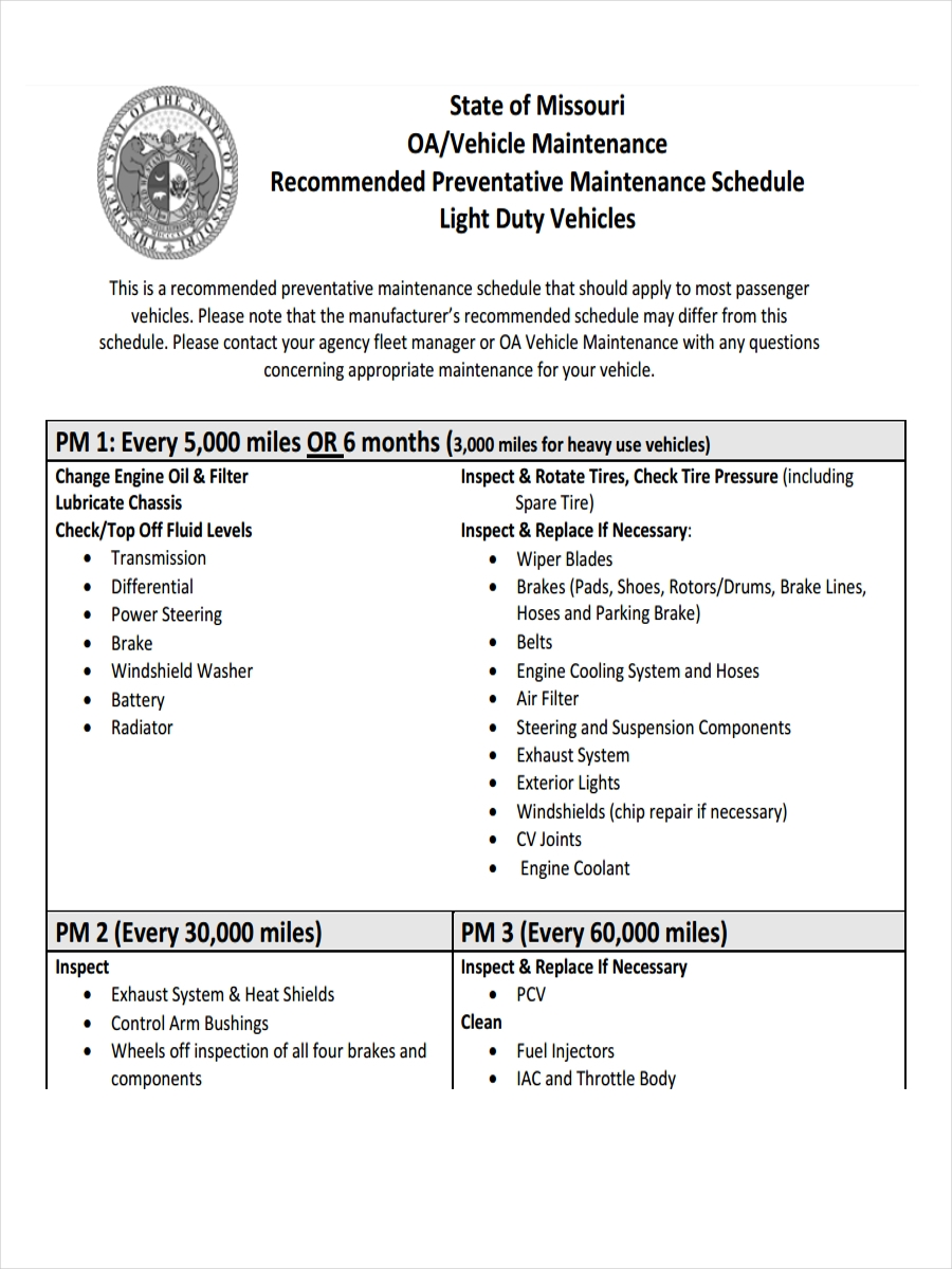 vehicle preventive maintenance schedule