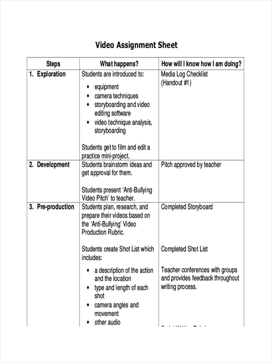 video assignment sample sheet