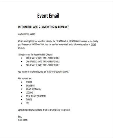 voluntary event email