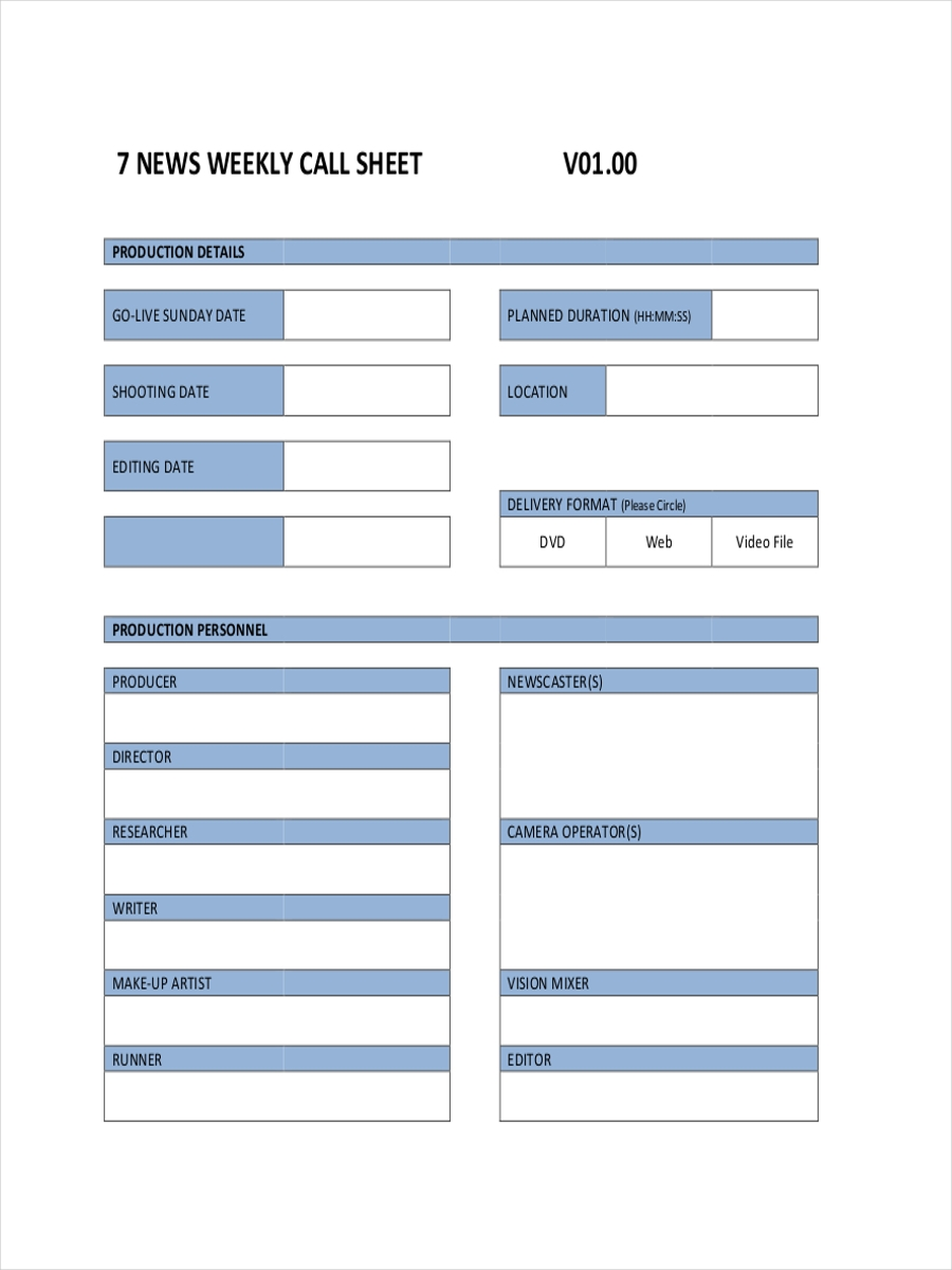 weekly call example sheet