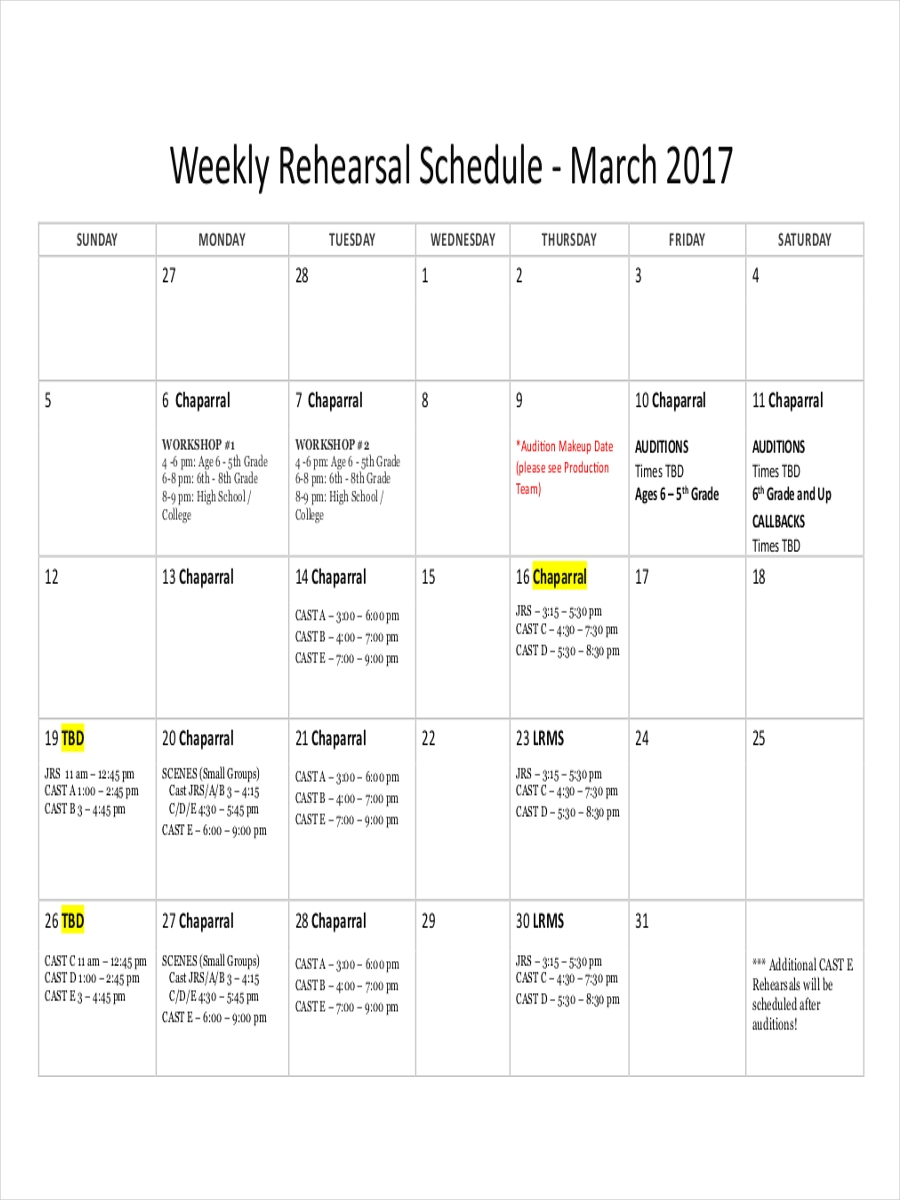 free 10  rehearsal schedule examples  u0026 samples in google