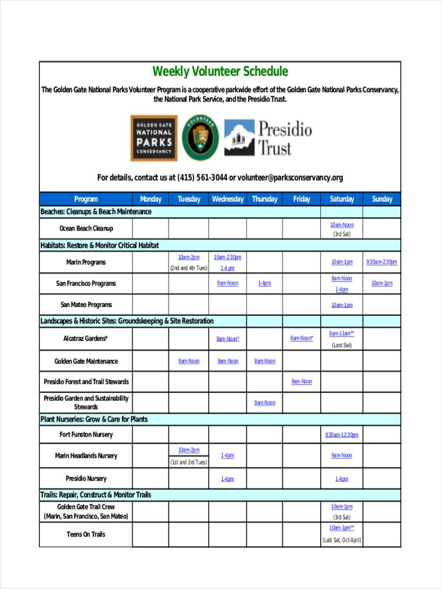 weekly volunteer schedule1