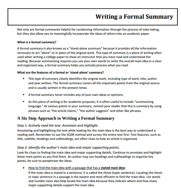 writing a formal summary