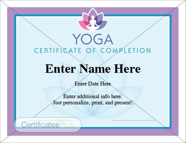 Yoga Completion Certificate