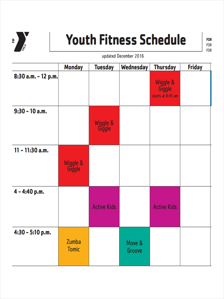 free 10  fitness schedule examples  u0026 samples in pdf