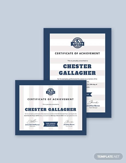 baseball award certificate