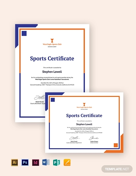 certificate of sports day