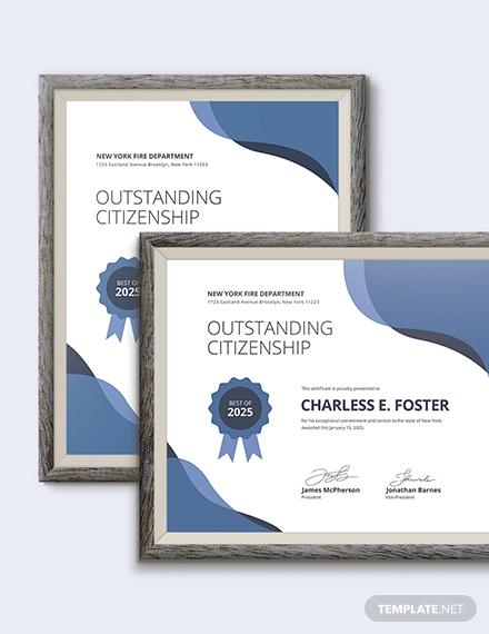 citizenship award certificate