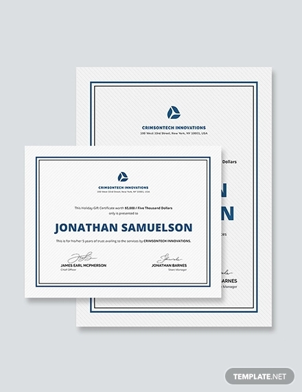 company holiday gift certificate