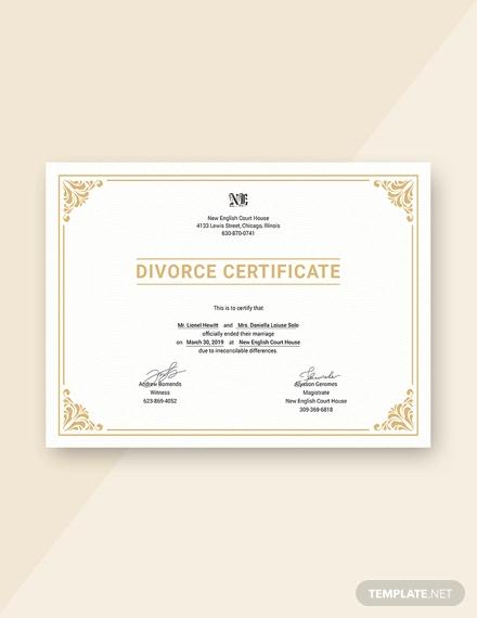 free divorce certificate