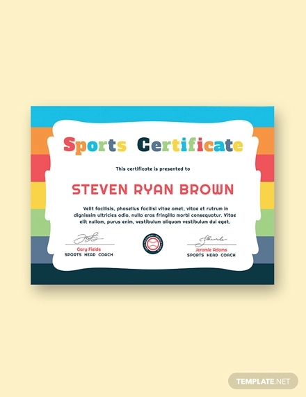 free kids sport award certificate