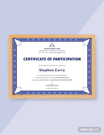 free participation certificate for sports