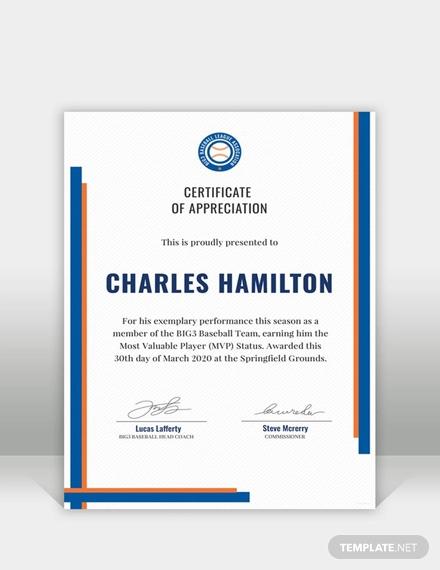 free sports appreciation certificate