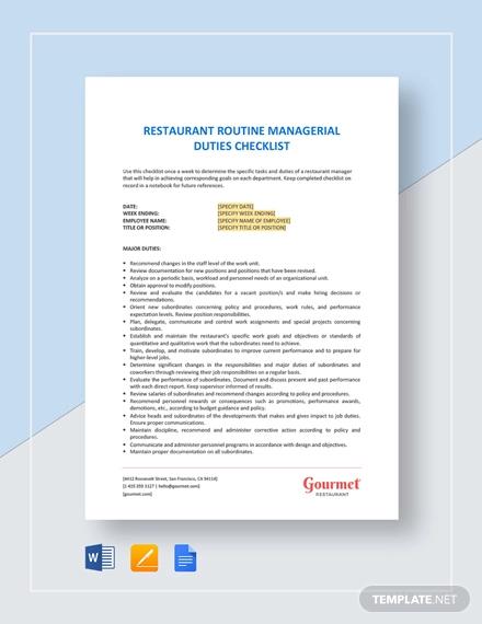 restaurant routine managerial