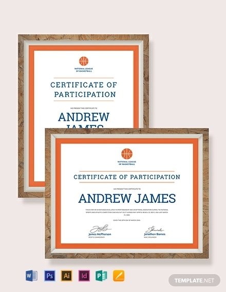 sport participation certificate