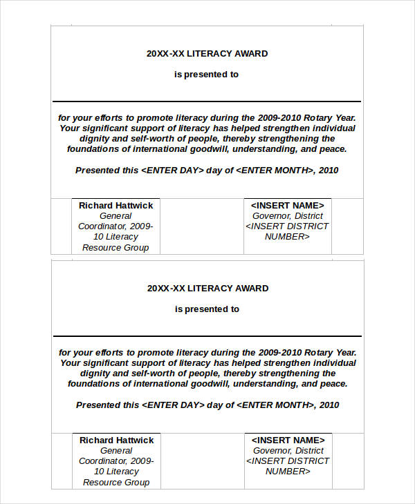 literacy award certificate