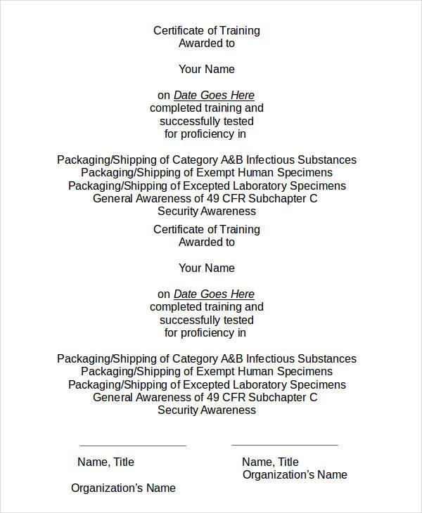 training award certificate