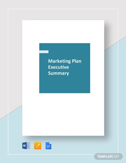 marketing plan executive summary template