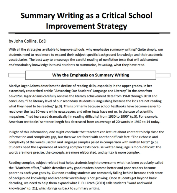 school summary writing