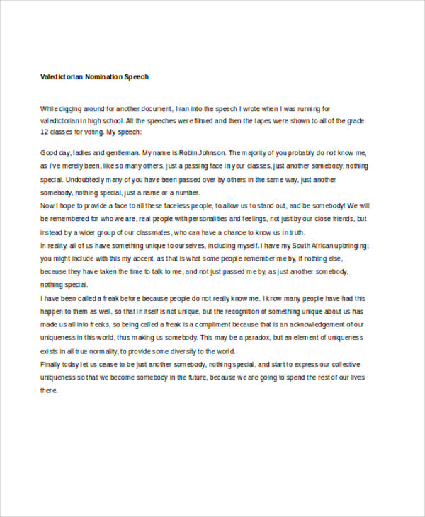 7 Valedictorian Speech Examples Samples Word