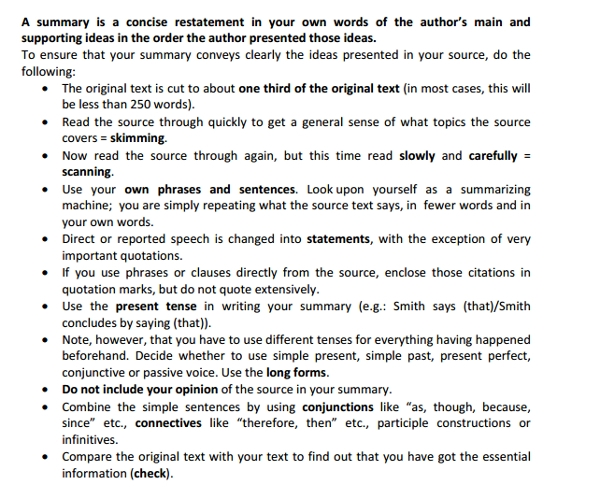 worksheet summary writing