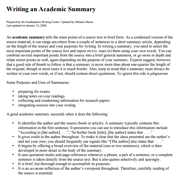 Writing-an-Academic-Summary Sample Informal Essay Examples on example paragraph, good outros for, what is, level headings, already completed free, format example, already completed, words for,
