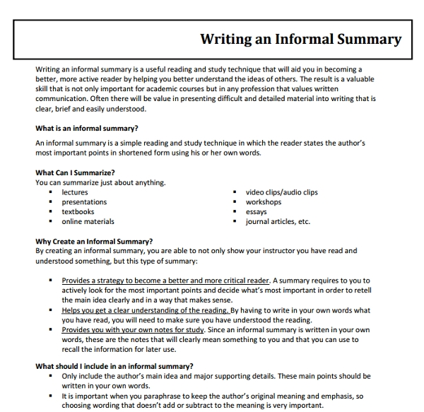 how to write a one paragraph summary of an article