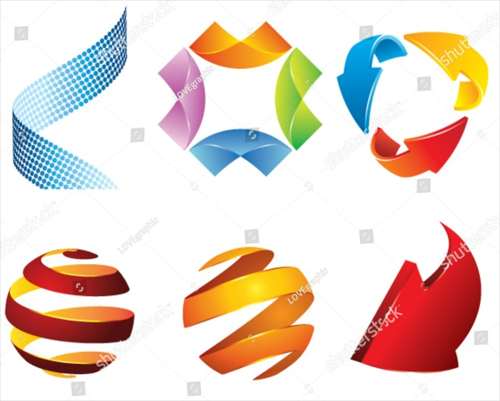 3D Blank Logo Shape Set