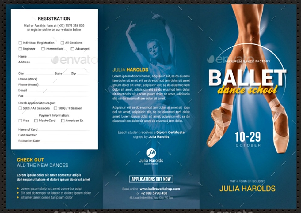 ballet workshop tri fold brochure