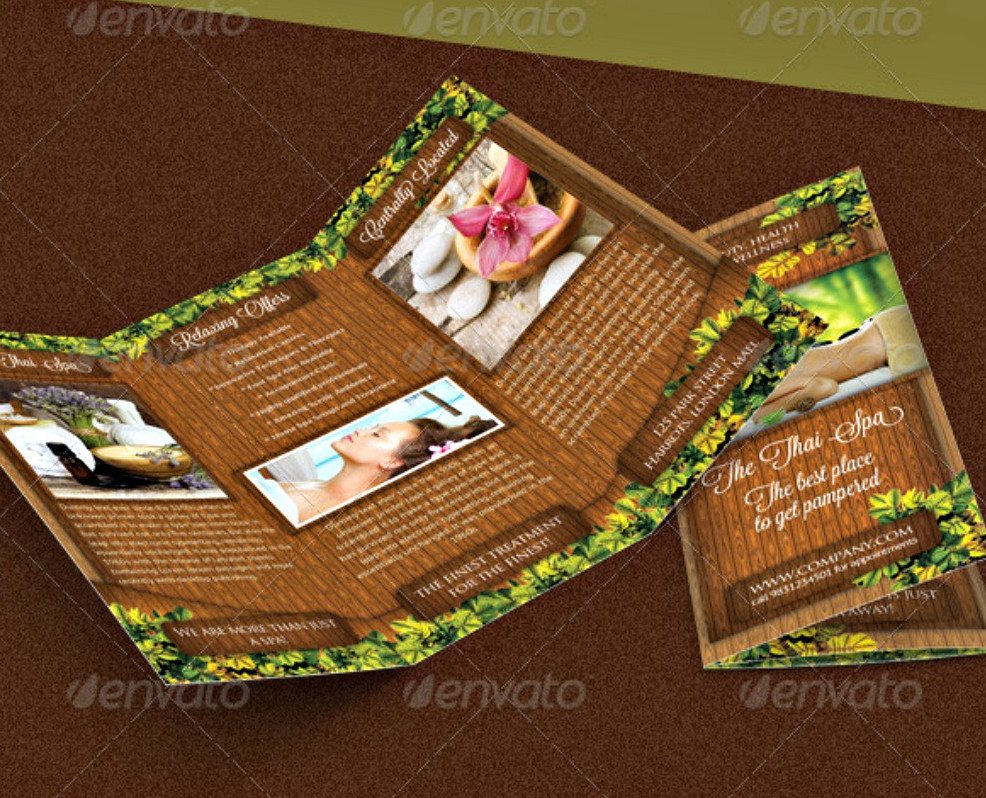 Beauty and Spa Tri-fold Brochure PSD Template