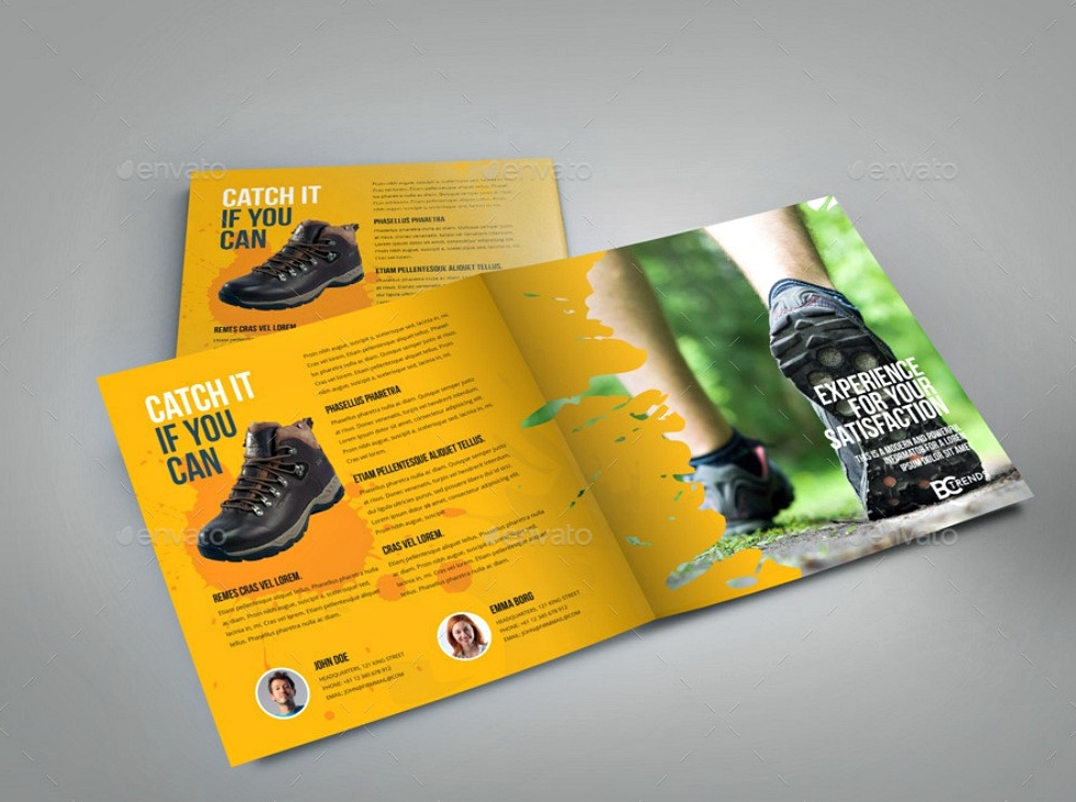 bifold shoes indesign brochure