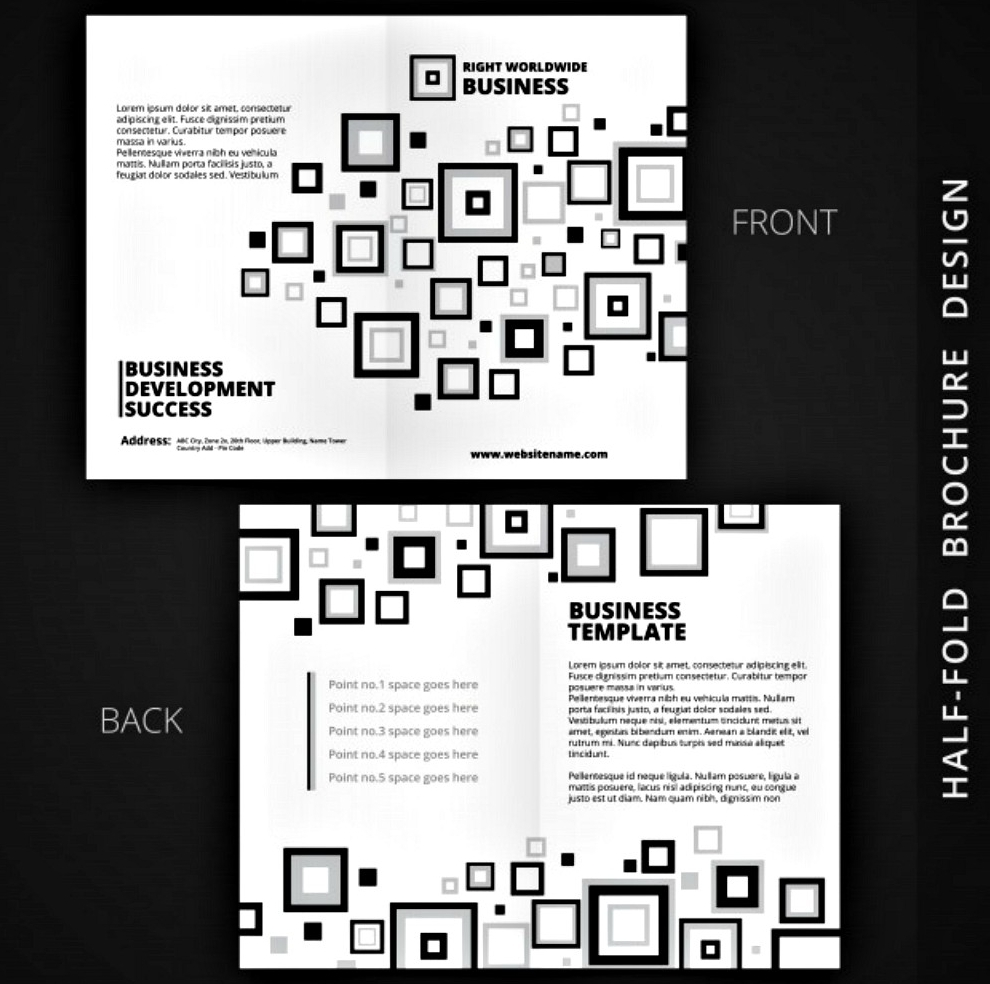 black and white bi fold brochure template