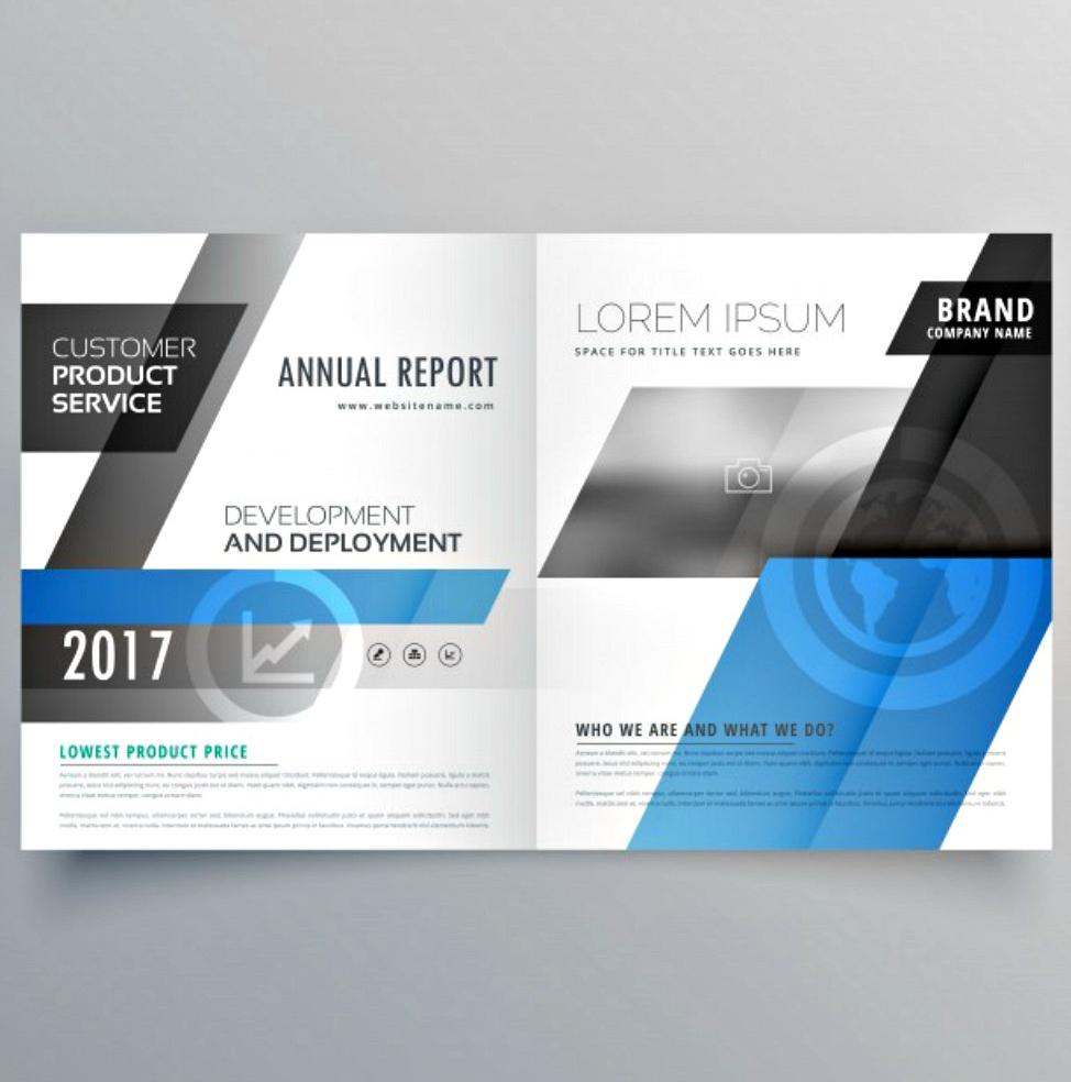Blue Business Bi-fold Brochure Design Template