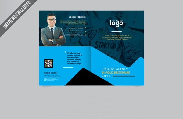blue business bi fold brochure design template1