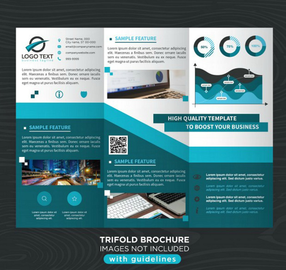 Blue Stylish Business Tri-fold Brochure Template