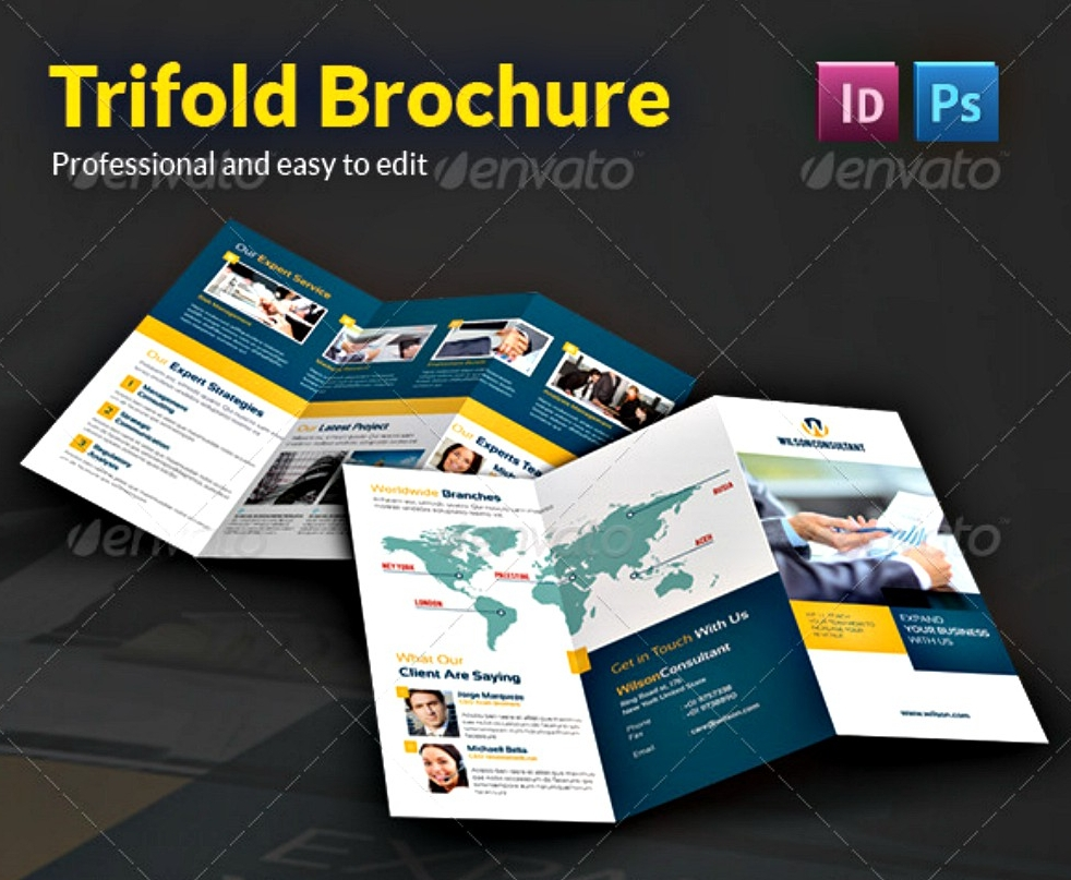 blue and yellow business brochure