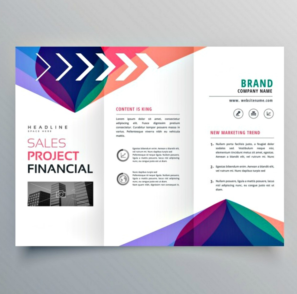 brochure with colorful abstract shapes