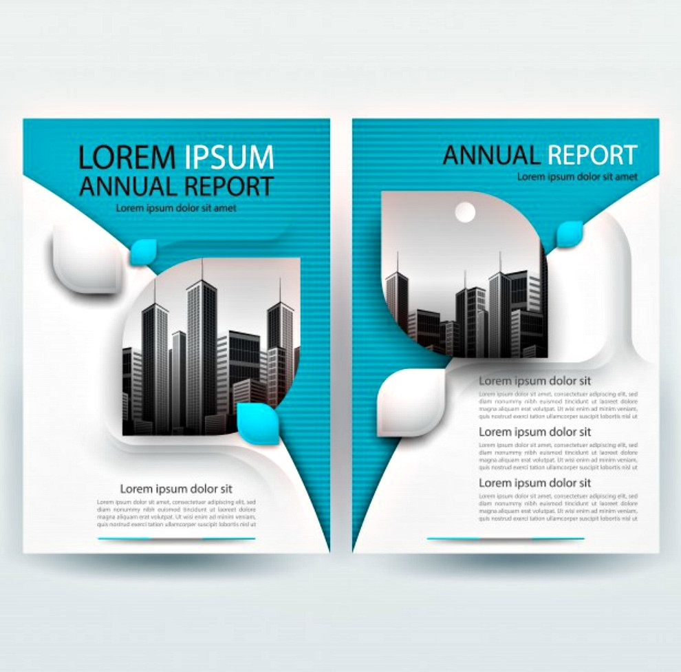 business brochure template with teal geometric shapes
